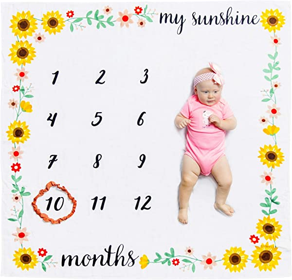 Organic Baby Monthly Milestone Blanket My Sunshine With Month Frame Prop For Newborn Girl 1 To 12 Months Soft Photography Background Baby Shower Gift
