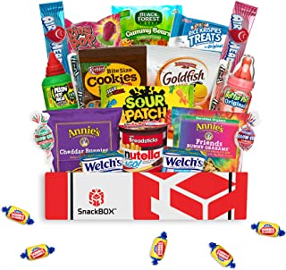 Kids Snack Box Care Package for Easter Basket, Birthday Party Gift Ideas with Snacks and Candy (24 Items)