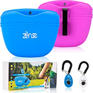 Zënse 2 Dog Treat Pouch and 2 Dog Training Clicker. Magnetic Closure Opening and New Upgraded Super Strong Waist Clip. Small Portable Silicone Treat Bag. Blue and Lavender Color Bags