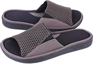 LongBay Men's Comfy Memory Foam Slide Slippers Breathable Mesh Cloth Micro Suede House Shoes