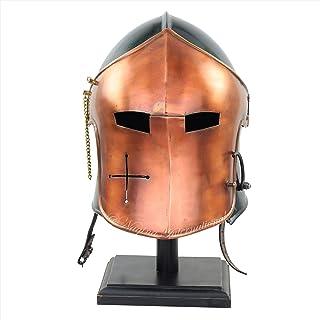 Nagina International Medieval Barbuta Visored Brushed Steel Knights Armory Templar Crusader's Helmet with Black Display St...