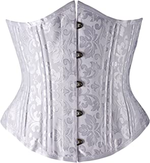 Camellias Womens Steel Boned Heavy Duty Waist Trainer Corset Underbust Body Shaper Weight Loss,AU-SZ1912-White-5XL