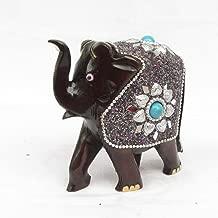 eCraftIndia Decorative Elephant Coated with Silver and Blue Stone