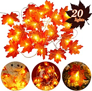 Thanksgiving Decorations Fall Decor Fall Garland Maple Leaf Light 20LED Fall Decorations for Home Halloween Decor Fall Lea...