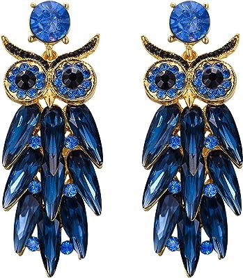 EVER FAITH Orecchini Gufo Orecchini per donne Ragazze Cristallo austriaco Animale Uccello Forate Lampadario Pendente Jewelry Regalo Blu