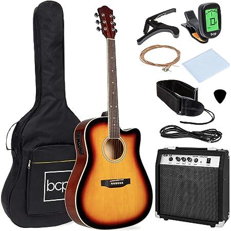 Best Choice Products Beginner Acoustic Electric Guitar Starter Set w/ 41in, All Wood Cutaway Design, Case, Strap, Picks, Tuner - Sunburst