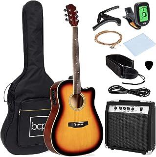 بهترین محصولات انتخابی گیتار الکتریکی آکوستیک الکتریکی 41 وات / آمپول 10 وات، Capo، E-Tuner، Case - Sunburst