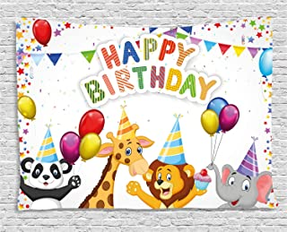 Ambesonne Birthday Tapestry, Cartoon Style Safari Jungle Animals at a Party with Flags and Balloons Image, Wide Wall Hanging for Bedroom Living Room Dorm, 60