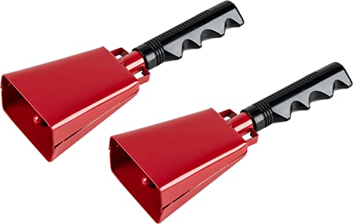 Cowbell with Handle - 2-Pack Cow Bell Noismakers, Loud Call Bells for Cheers, Sports Games, Weddings, Farm, Red, 3 x ...