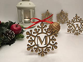 Personalized Wood Handmade Snowflake Ornament Laser Cut Any Letters Monogram Initials Xmas Ornaments Christmas Hanging Tree Decorations Custom Holiday Family Gifts Wooden Gift Tags Winter Home Decor