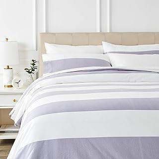 Amazon Basics - Juego de cama de franela con funda nórdica - 200 x 200 cm/50 x 80 cm x 2, Rayas grises