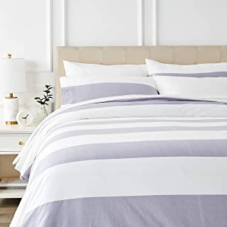 comprar comparacion AmazonBasics - Juego de cama de franela con funda nórdica - 230 x 220 cm/50 x 80 cm x 2, Rayas grises