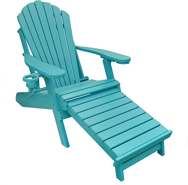 ECCB Outdoor Outer Banks Deluxe Oversized Poly Lumber Folding Adirondack Chair With Integrated Footrest Aruba Blue