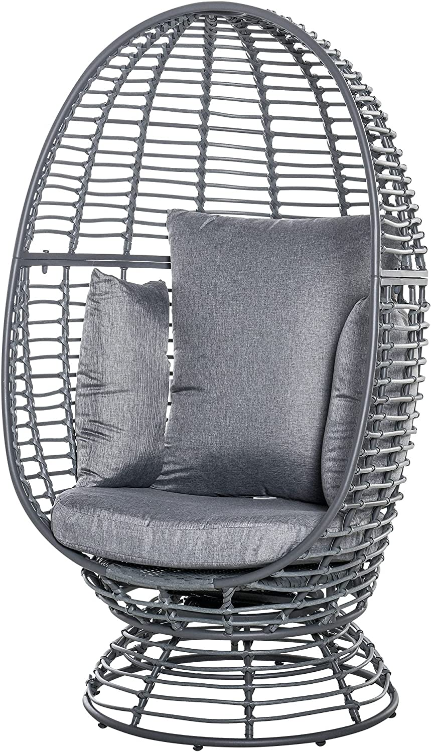 Outsunny Outdoor Egg Bargain sale Spasm price Chair Rattan Wicker Bask Swivel Degree 360