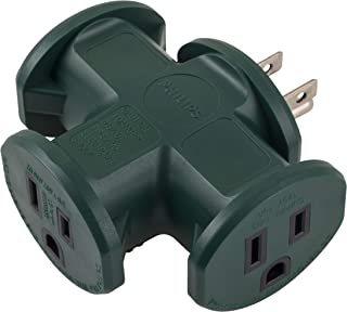 PHILIPS 3 Outlet T-Shaped Adapter, Power Outlet Extender, Outdoor Grounded Wall Tap, Heavy Duty, Ul Listed, Green, SPS1630G/37