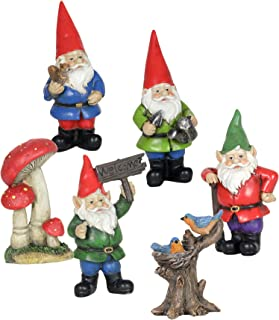 Exhart Gnome Garden Miniatures 6-Piece Set Outdoor Resin Statues - Handcrafted Garden Figurines, 4 Whimsical Gnomes, Tree Trunk w/Birds & Red Toadstools - Fairy Tale Decor, 2.5