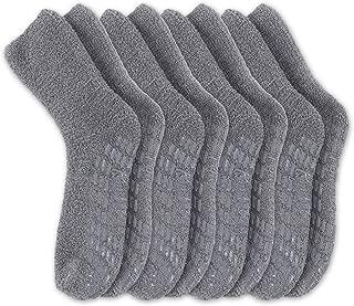 Non Skid/Slip Socks – Fuzzy Slipper Hospital Socks (4 - Packs) – Great for adults, men, women.