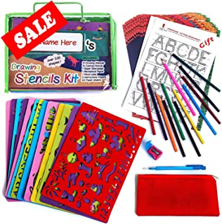 Drawing Stencil Set – 54-Piece Crafting Kit for Kids – Best Travel Activities for Toddlers – Fun & Educational Toy for Children 3+ Years Old – Ideal for Girls & Boys – Perfect as Birthday Gift