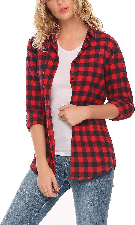 Zeagoo Women's Casual Long Sleeve Boyfriend Plaid Button Down Flannel Shirts Tops Checkered Cotton Shirt(SXXL)