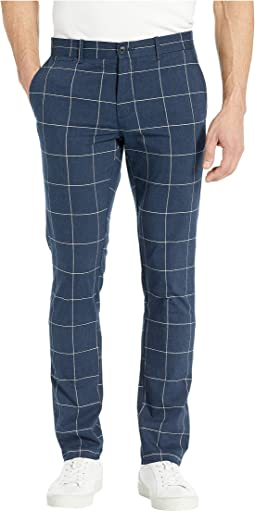 Stretch Heather Windowpane Pants with Back Pocket Flaps