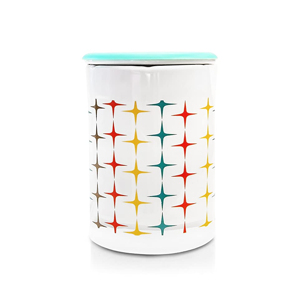 Happy Wax - Classic Wax Melt Warmer in Mod Stars - Perfect Electric and Decorative Ceramic Wax Melter or Warmer for Scented Wax Melts! (Melts not Included) (Mod Star)