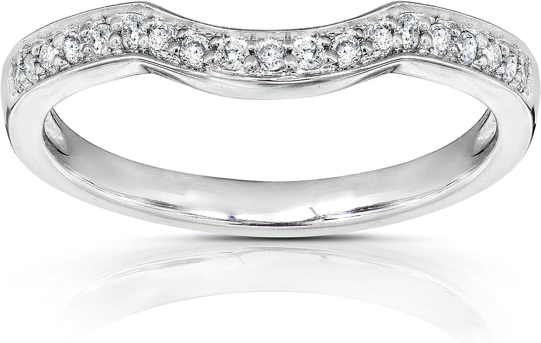 Kobelli Round Diamond Curved Wedding Band 1/6 carat (ctw) in 14K Gold