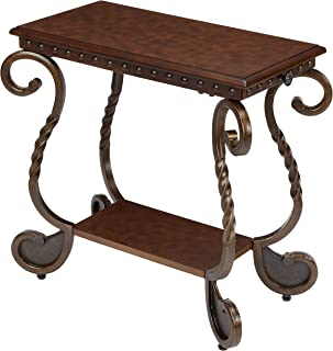 Ashley Furniture Signature Design - Rafferty Chairside End Table - Antique Finish with Metal Base - Rectangular - Dark Brown