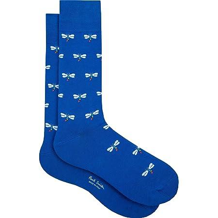 "PAUL SMITH ""Firefly"" Mens Cotton One Size Socks Blue with Rainbow Fireflies"