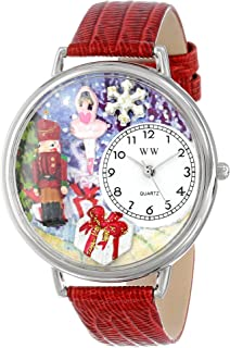 Whimsical Watches Unisex U1220010 Christmas Nutcracker Red Leather Watch