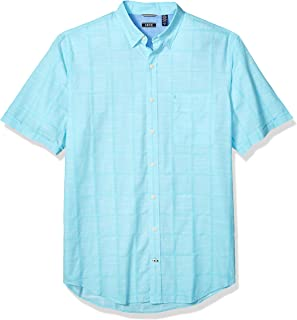 IZOD Men's Big and Tall Saltwater Short Sleeve Windowpane Button Down Shirt