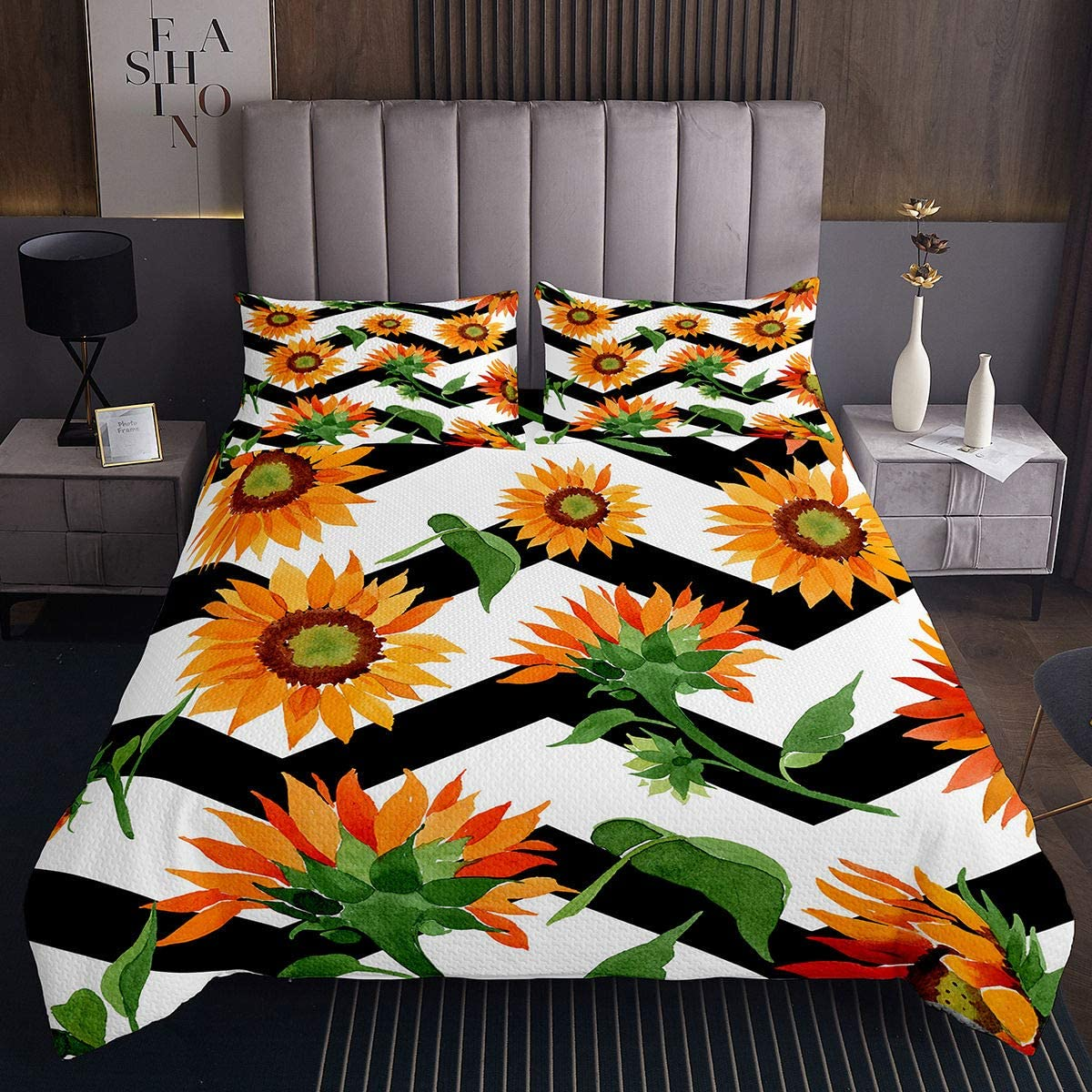 Manfei supreme Flower Quilted Coverlet Yellow Black Bedspread Sunflower mart