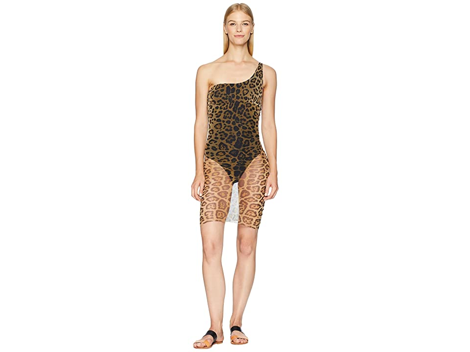 FUZZI One Shoulder Animal Print Swimsuit (Cammello) Women
