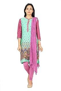 Rama Pista Color Rayon Kurta with Legging & Dupatta Set