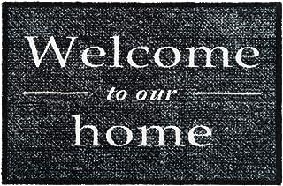 comprar comparacion GadHome Welcome Felpudo de Puerta para Interior o Exterior 50x75cm, Gris | Welcome to Our Home Alfombra Antideslizante, Ab...