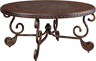 Rafferty Vintage Traditional Dark Brown Round Coffee Table Ashley Furniture