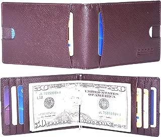 RFID Blocking Bi-Fold Vintage Slim Men's Money Clip Front Pocket Wallet with 8 Credit Card Slots