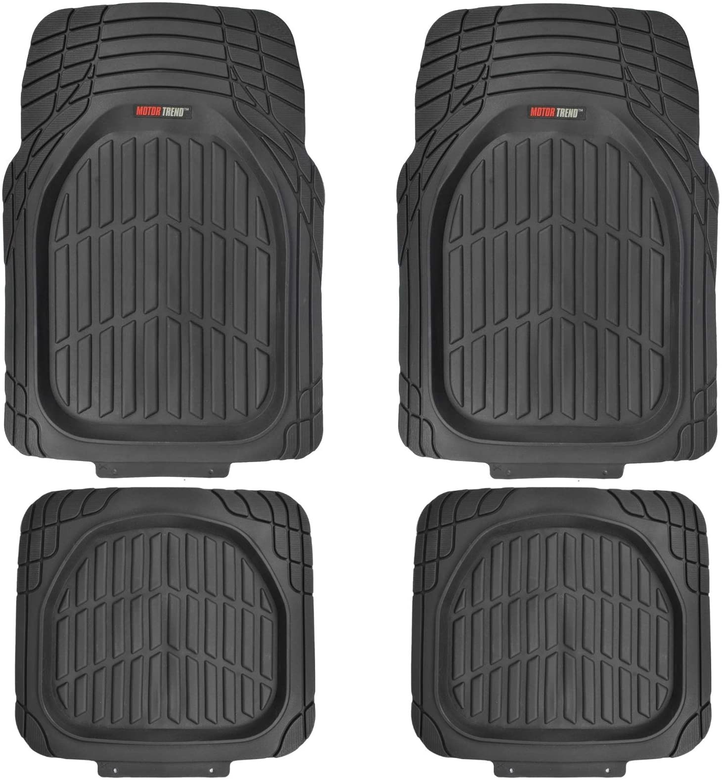 Motor Trend FlexTough Tortoise - Heavy Duty Rubber Floor Mats for All Weather Protection - Deep Dish (Black)