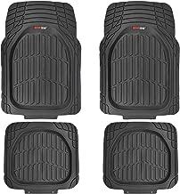 Motor Trend MT-921-BK FlexTough Tortoise - Heavy Duty Rubber Floor Mats for Car SUV Van & Truck - All Weather Protection - Deep Dish (Black)