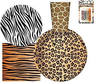 "Serves 30 Guest Jungle Safari Zoo Animal Print Birthday Party Supplies Pack 9"" Dinner Plates 7"" Dessert Plates 12 oz Cups ..."