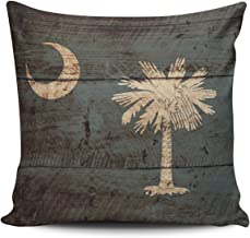 ONGING Throw Pillow Covers Case Beige and Gray South Carolina State Flag on Old Wood Grain Decorative Pillowcase Cushion Cover 20 x 20 inch Square Size One Side Design Printed