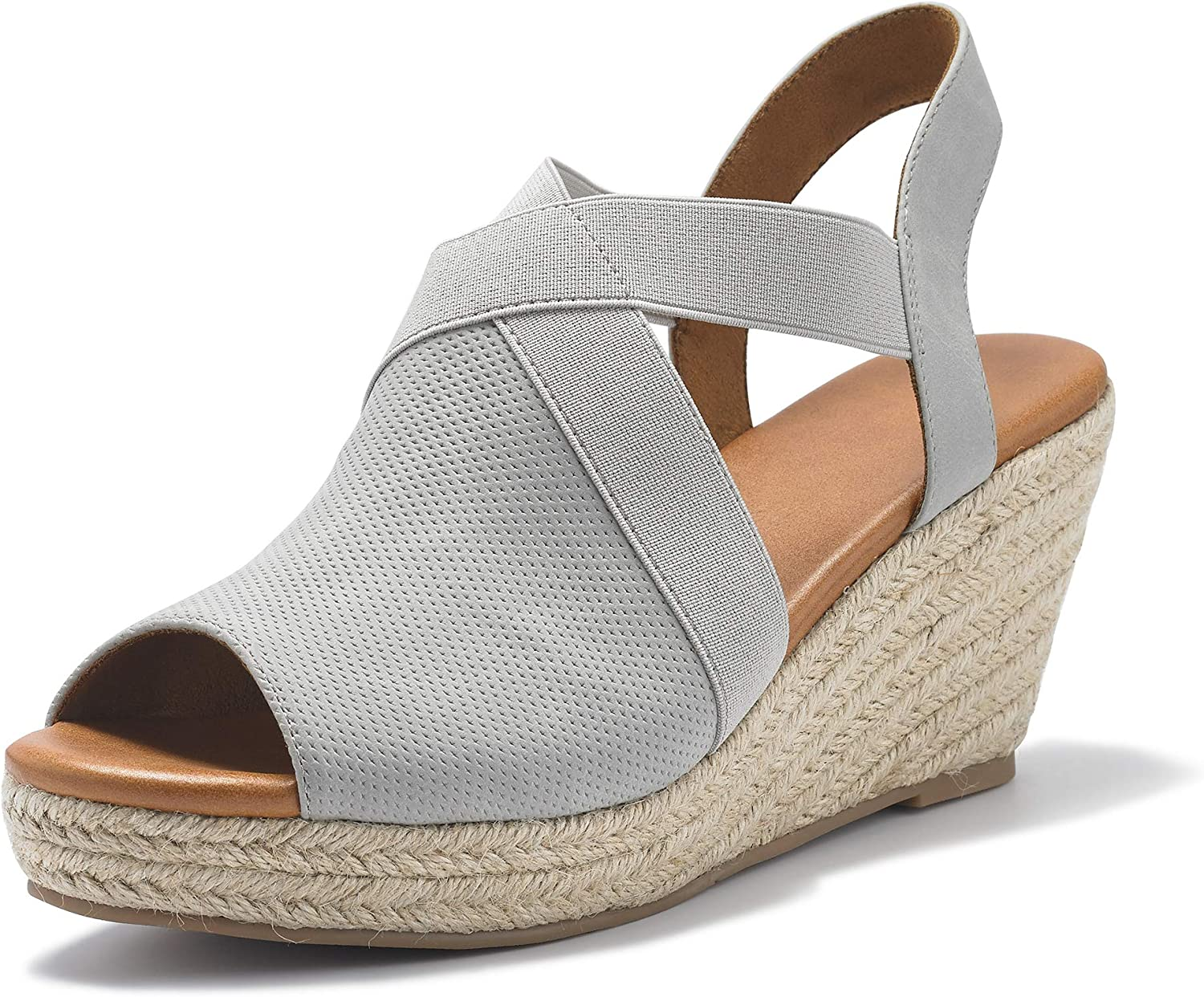 Womens Espadrille Platform Stretch Strappy Special Campaign Open Toe Peep NEW before selling M Wedge