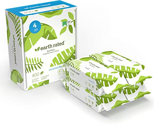 Earth Rated Dog Wipes, Plant-Based and Compostable Wipes for Dogs, USDA-Certified 99 Percent Biobased, Hypoallergenic...