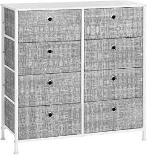 SONGMICS 4-Tier Storage Dresser with 8 Easy Pull Fabric Drawers and Wooden Tabletop for Closets, Nursery, Dorm Room, Mottled Gray and White ULTS024W01