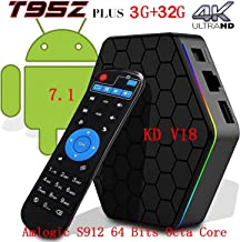 [2018 New Version]Kodi 17.6 Android T95Z TV Box + 3G RAM+32G ROM Android 7.1.2 Bluetooth TV BOX UHD 4K /64Bit/Amlogic S912 8 Core+ Mini Wireless Keyboard