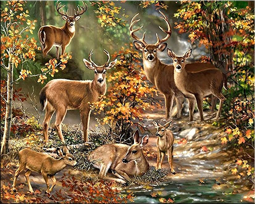 21secret 5D Diamond Diy Painting Full Drill Handmade Recumbent White Tailed Deer Family In Autumn Forest Cross Stitch Home Decor Embroidery Kit
