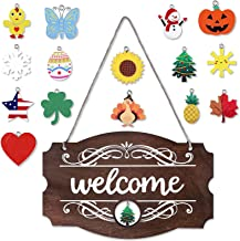 Interchangeable Seasonal Welcome Sign Front Door Decor Rustic Wood Welcome Sign Wall Hanging Porch Decoration for Fall Chr...