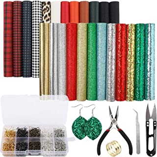 SGHUO 24pcs Christmas Faux Leather Sheets Embossed Fabric Sheets for Making Earrings, Bows, Jewelry, Wallet, and DIY Sewin...