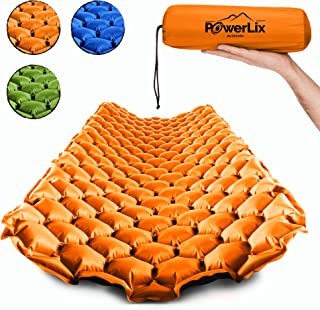 POWERLIX Sleeping Pad - Ultralight Inflatable Sleeping Mat, Best Self Serving Pad for Camping, Backpacking, Hiking - Airpad, Inflating Bag, Carry Bag, Repair Kit - Compact & Lightweight Air Mattress