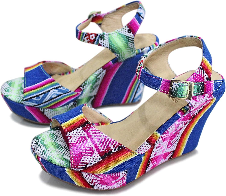 Calpas Handmade Wedge Sandals, Platform shoes, Peruvian Textile and Leather Lining, Pumps, Sexy Slingbacks - Cusi bluee
