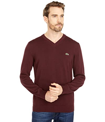 Lacoste Long Sleeve Solid V-Neck Sweater (Grape Vine) Men